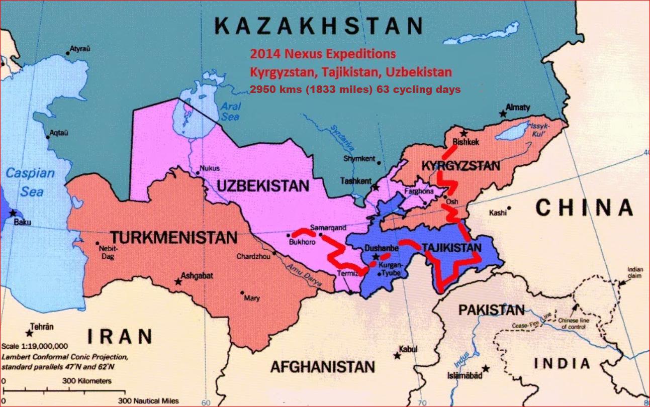 Nexus Expedition Summer Route Kyrgyzstan Tajikistan - Uzbekistan interactive map