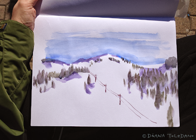 Lake Tahoe, Watercolor Sketch by Diana Toledano