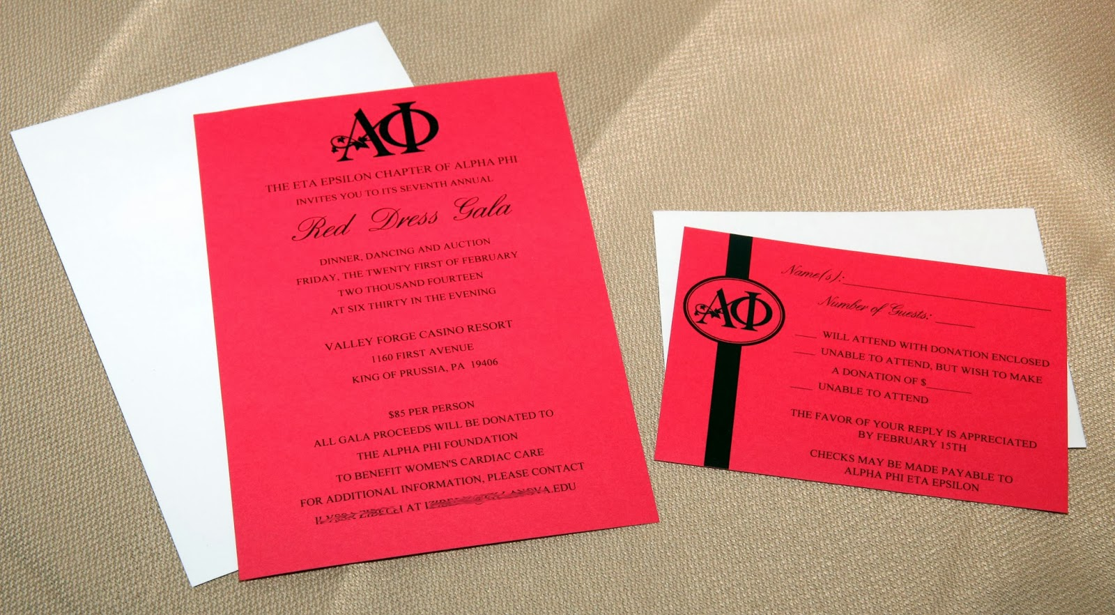 Scrapping Innovations: Alpha Phi Red Dress Gala Invitations