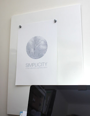 magnetic bulletin board covered with single poster