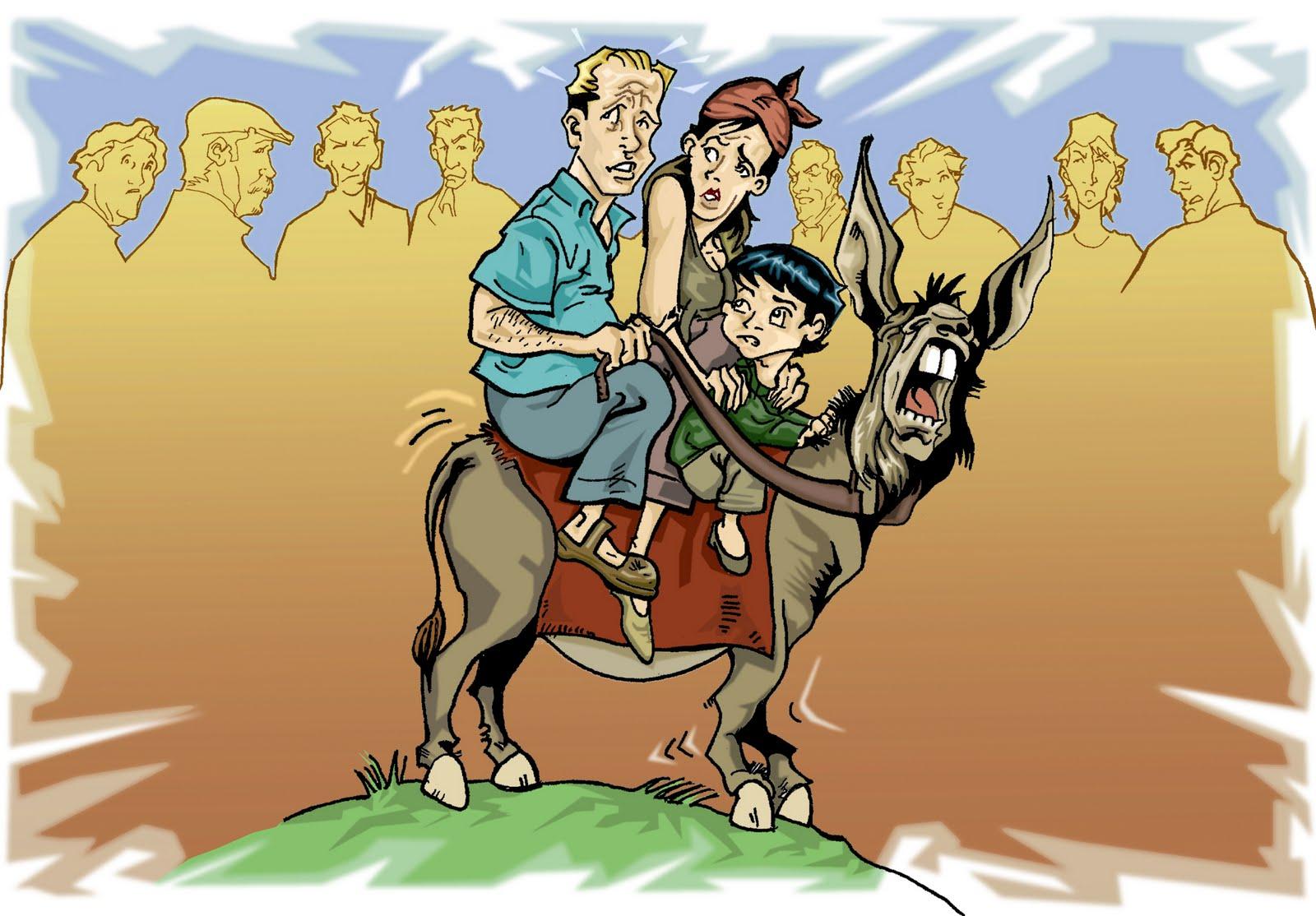 La familia y el burro (Fábula)
