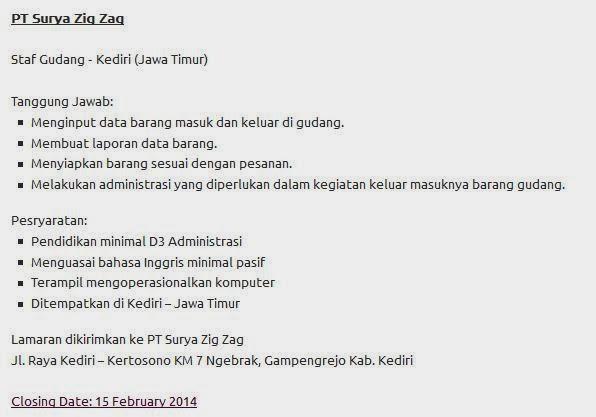 Info Lowongan Kerja PT Surya Zig Zag Kediri Februari 2014 Terbaru