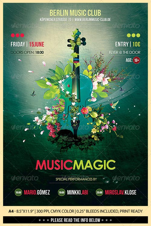 Music Magic Poster Flyer Photoshop PSD