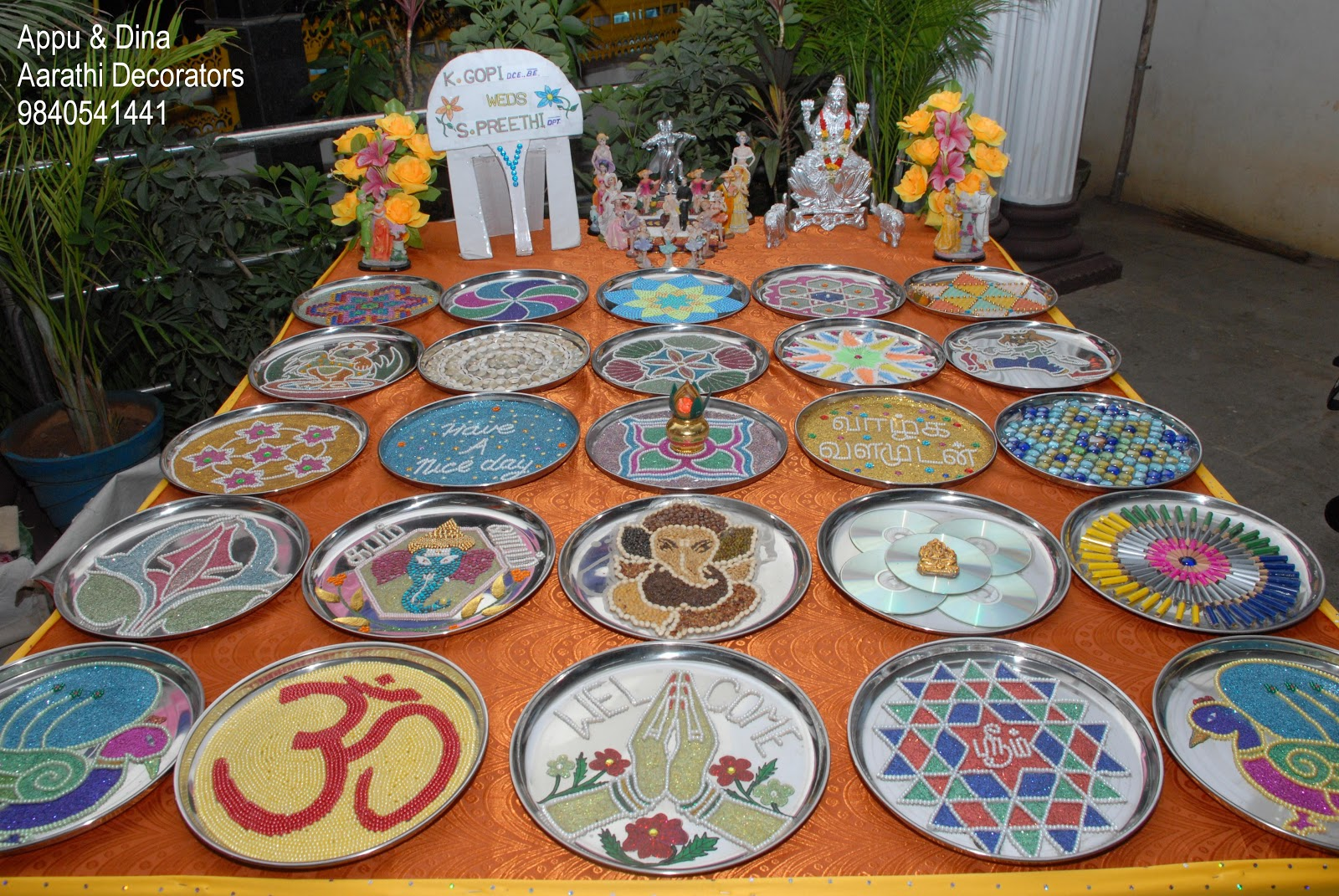 Ph no 9840541441 for Aarathi plates decoration