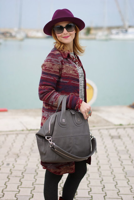 Jacquard coatigan, burgundy wool hat, Jean's west cardigan, Givenchy Nightingale bag, Fashion and Cookies, fashion blogger