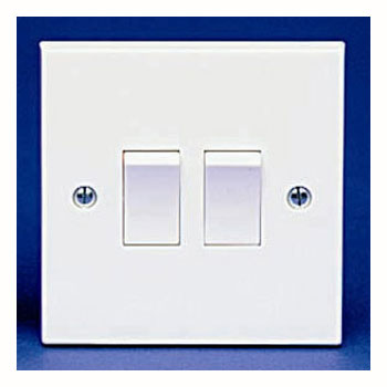 The BG 942B Square Edge - 2 Gang 2 Way Switch White Plastic