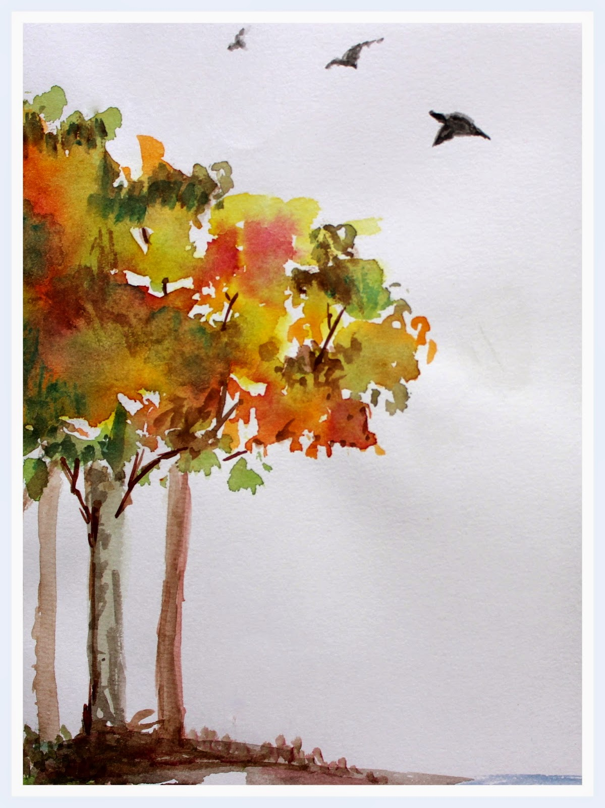 autumn trees birds landscape colorful hues season watercolor painting