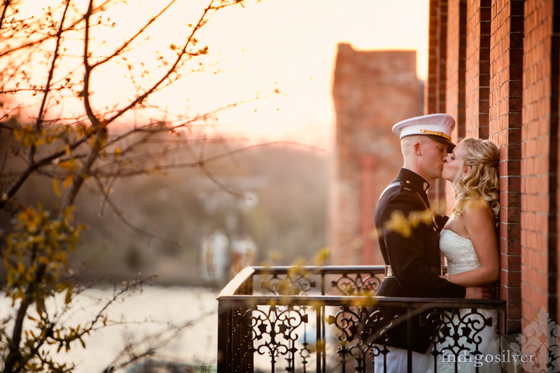 megan and pat | military wedding at balcony on dock | wilmington wedding photographers