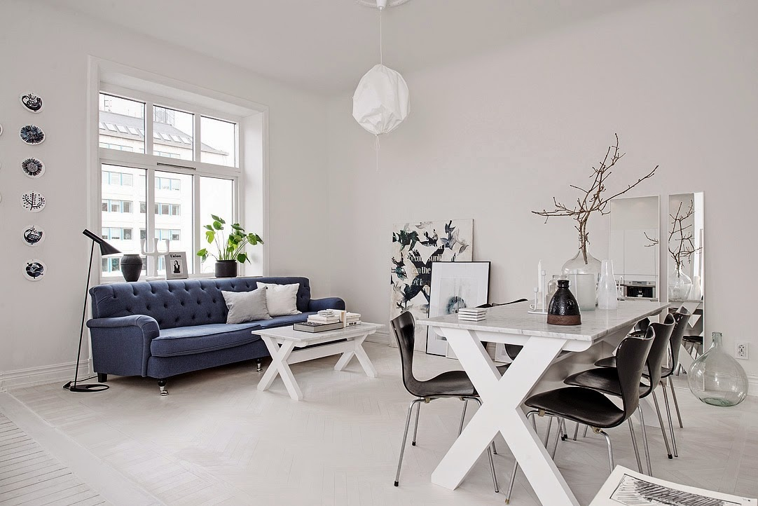Scandinavian interior design, Scandinavian white living room, blue sofa, aloveforgrey blog