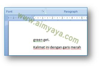 gambar: Contoh garis bawah merah dan hijau di Microsoft Word penanda ada kesalahan (error) spelling dan grammar
