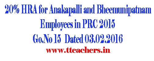 AP PRC HRA for Anakapalli Bheemunipatnam Employees @20% Go 15