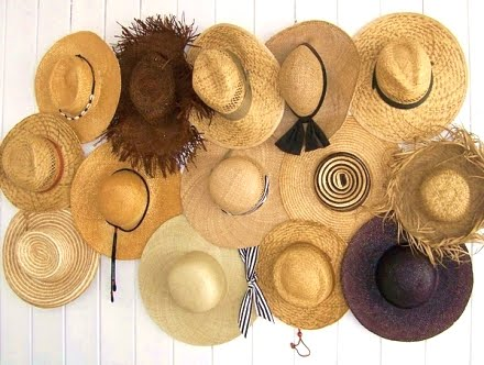 straw hats decor on wall