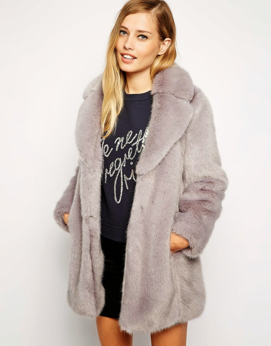 whistles grey fur coat