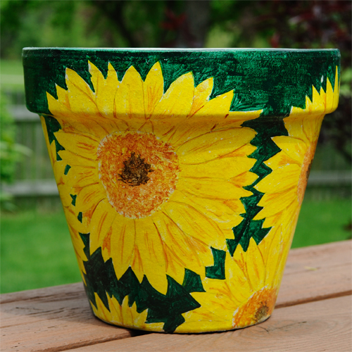 sun flower painted pot
