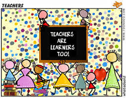 teachers are learners too written on a blackboard with students around it