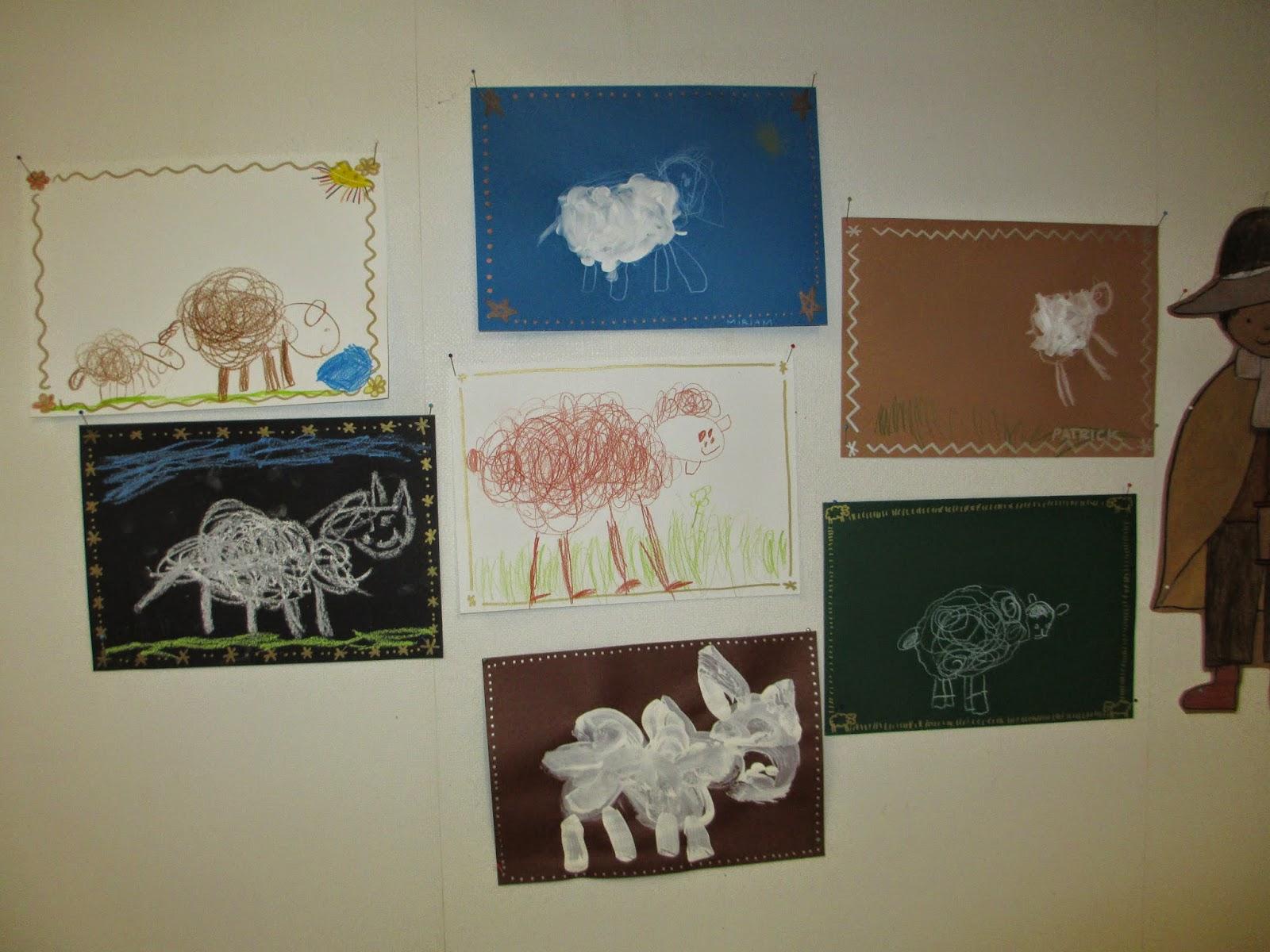 Schafe zeichnen im Kindergarten