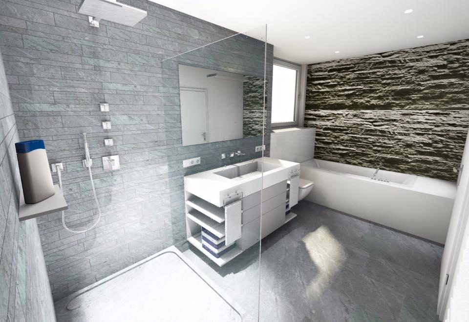 reihenhaus von werner wohnbau in bickenbach: 3. 3d planung, Badezimmer ideen