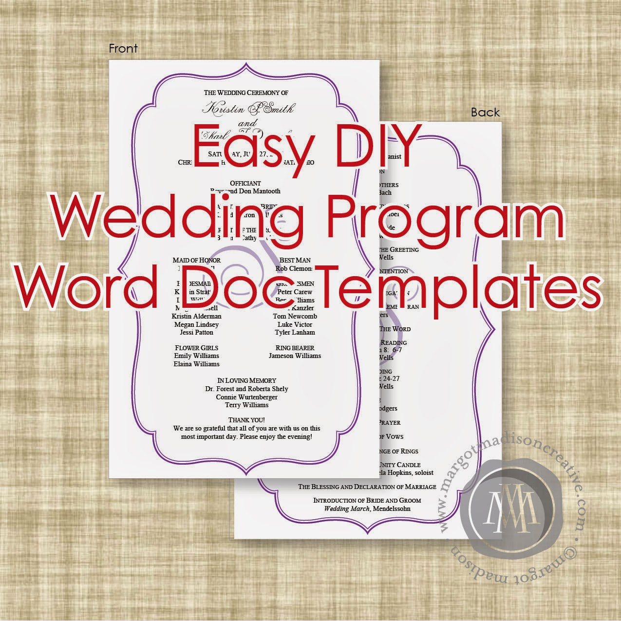 Margotmadison diy wedding program word doc templates now for Free printable wedding program templates word