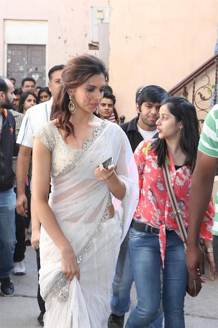 Bollywood Actress Deepika Padukone White Transparent Saree Photos