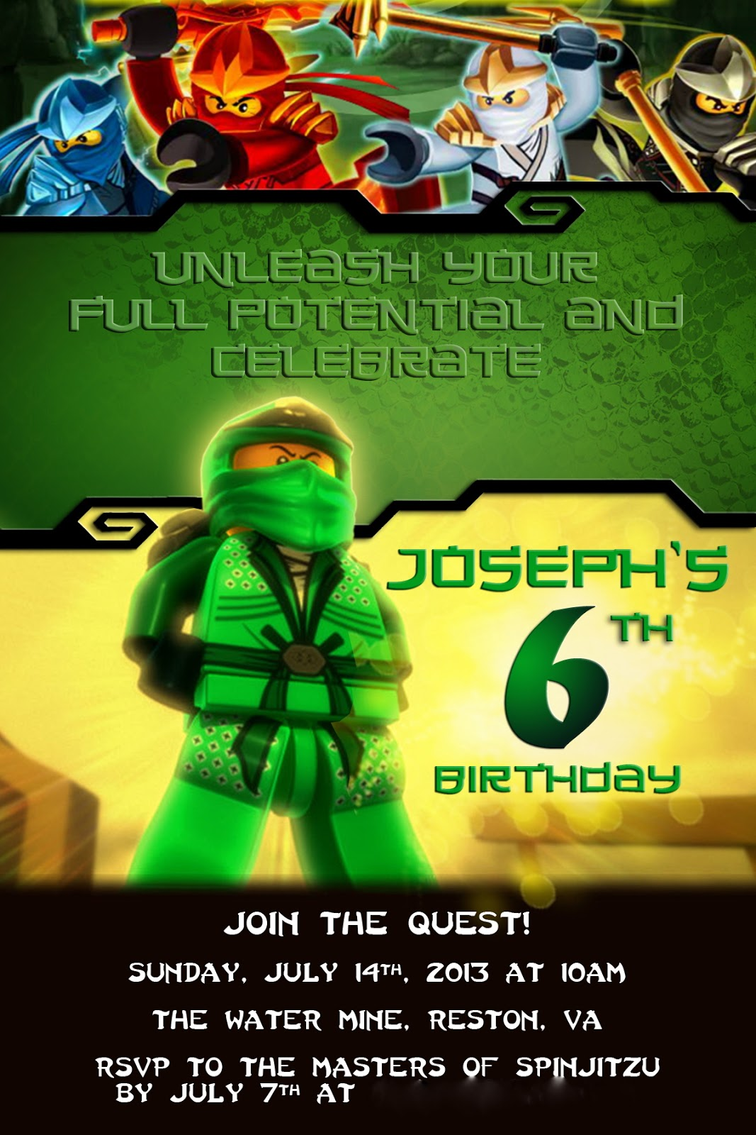 alton boys Josephs Ninjago Birthday Party – Ninjago Party Invitations