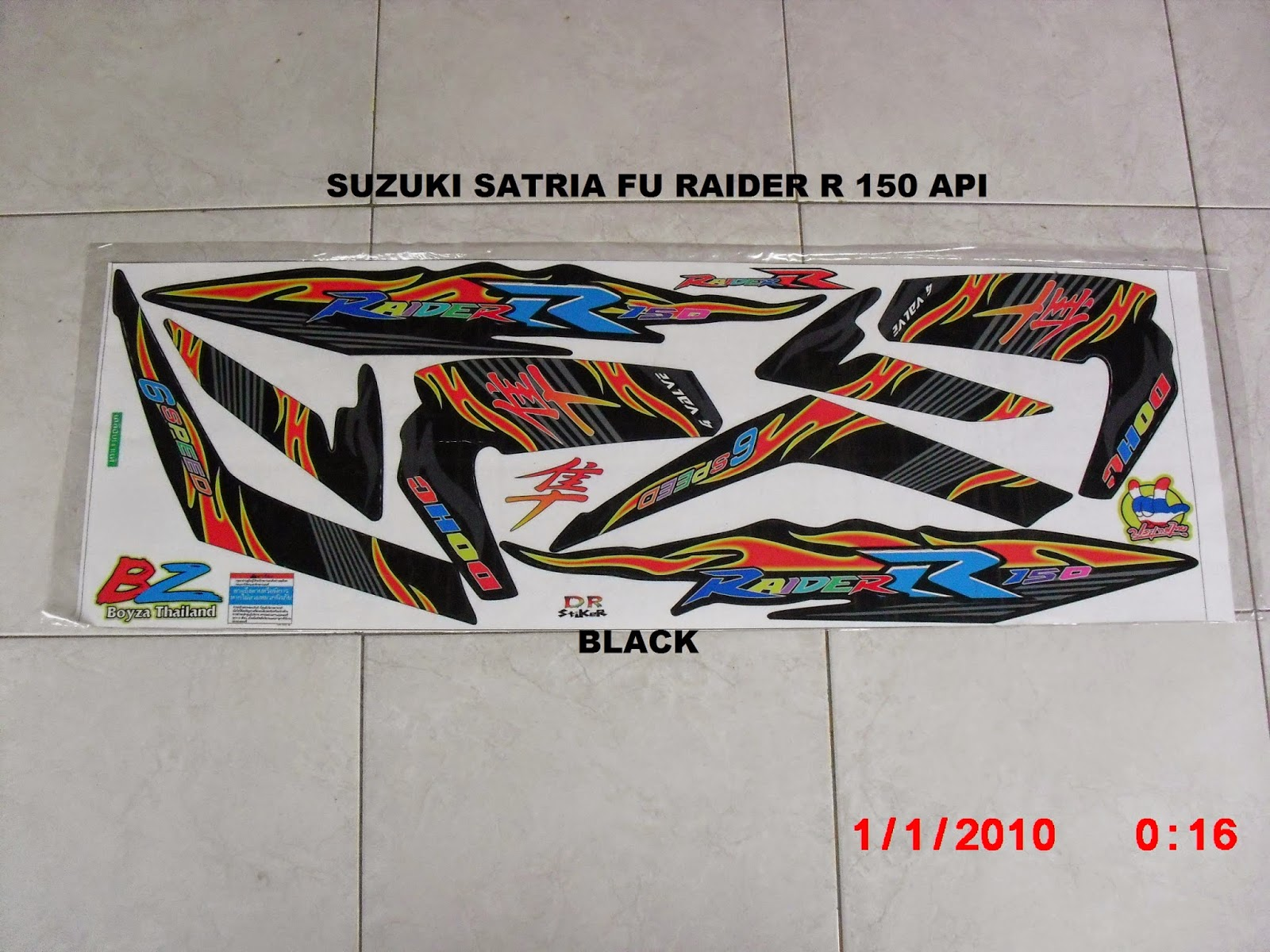 Jual striping motor suzuki satria fu raider r 150 motif api