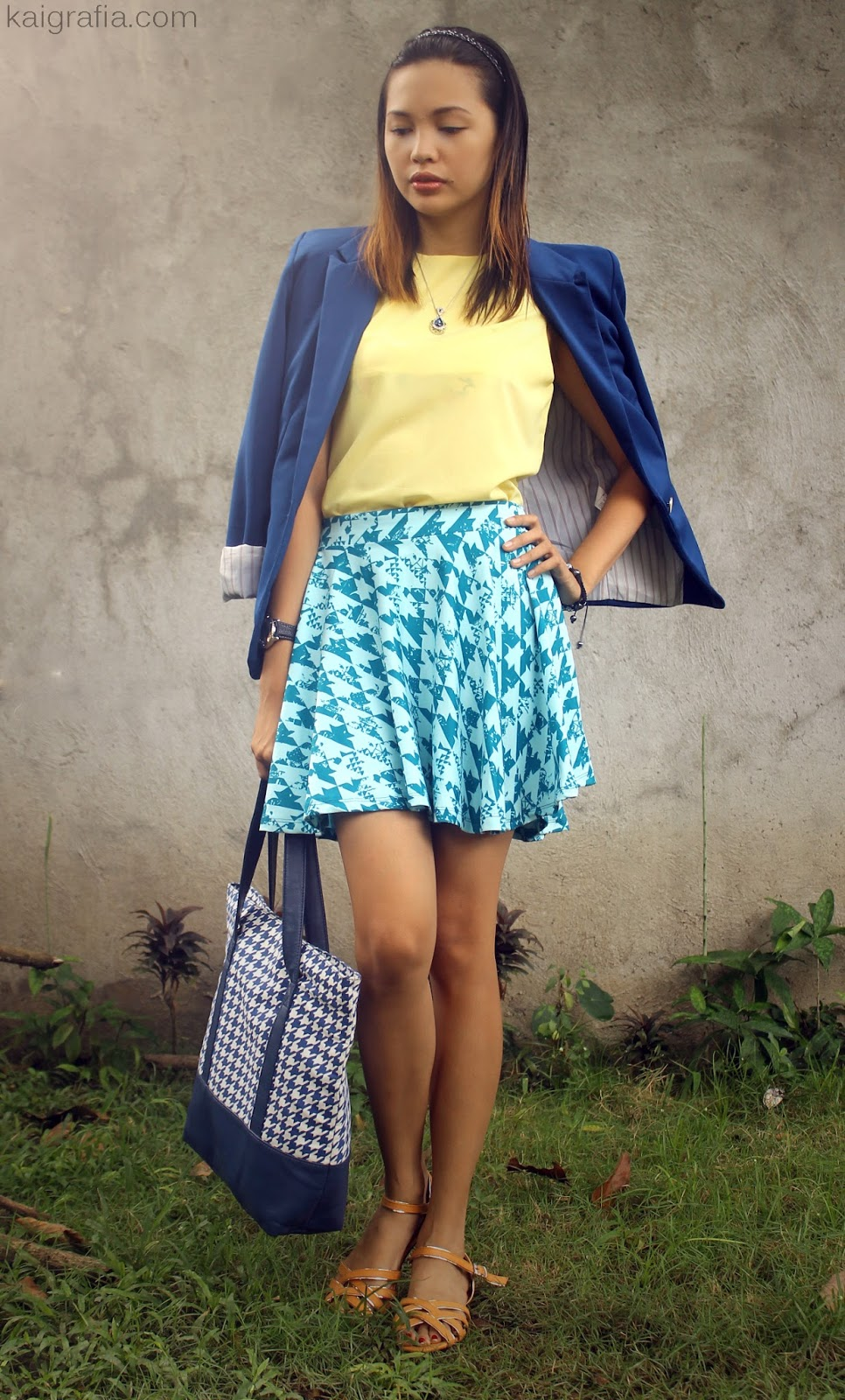 Yellow and Blue Plaid Skater Skirt