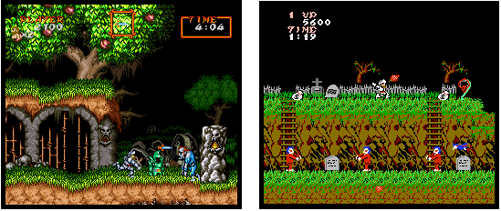 Screenshots of Super Ghouls 'n Ghosts for the SNES, and Ghosts 'n Goblins for the NES