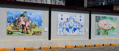 Painéis pintados por artistas sergipanos expostos no estacionamento do Museu da Gente Sergipana, em Aracaju - Sergipe