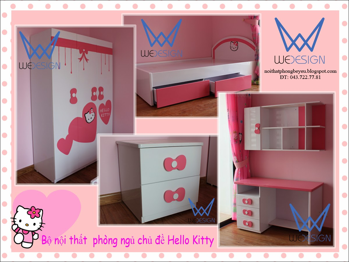 Bộ nội thất phòng ngủ Mèo Hello Kitty
