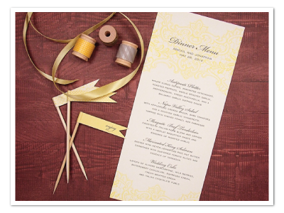 vintage yellow lace wedding menu card design