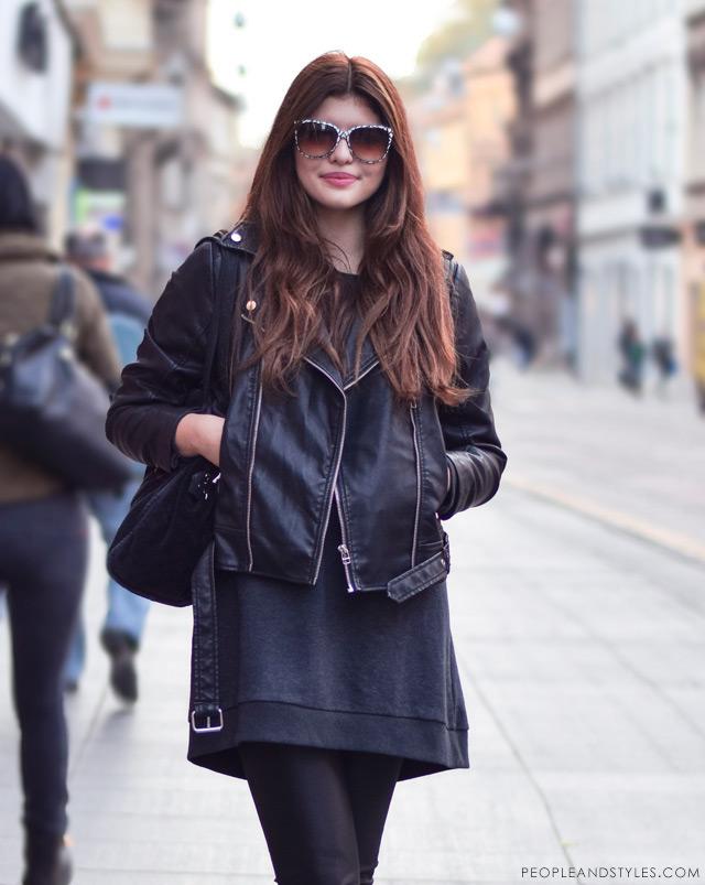 Dunja Ercegović, kantautorica - poznatija kao Lovely Quinces, stajlinzi s bajkerskom jaknom, biker jacket and leggings outfit inspiration