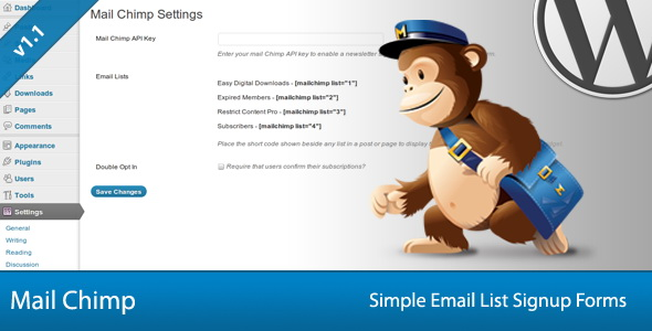 Simple Mail Chimp Signup Forms WP Plugin