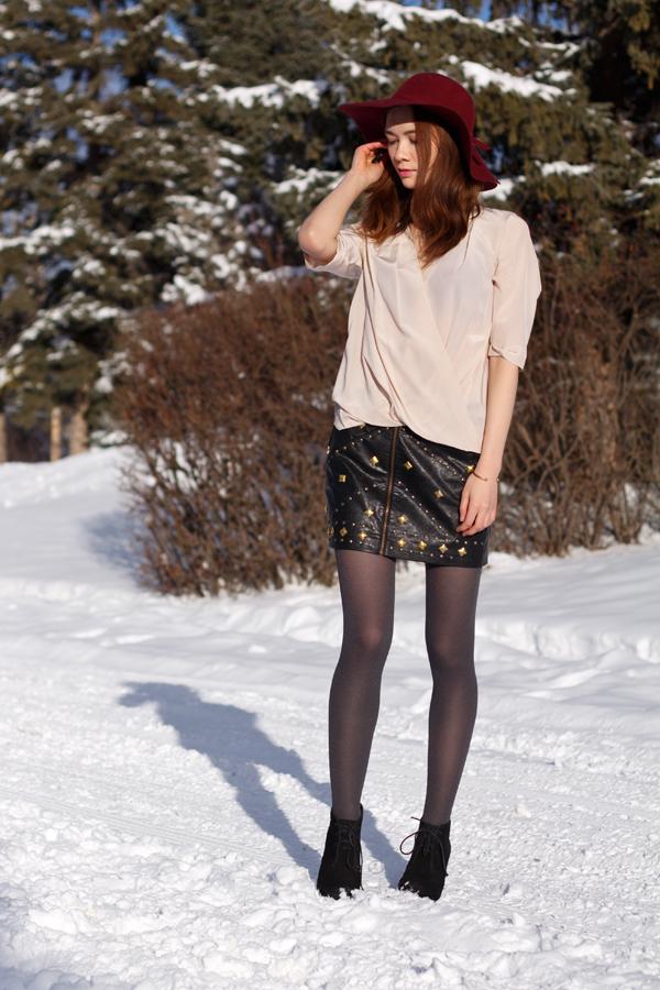 studded, leather skirt, draped blouse, felt hat, marsala, oxblood, winter style, calgary fashion, amanda uprichard, ladakh x revolve
