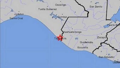 Epicentro sismo Chiapas, México, 14 de Octubre 2012