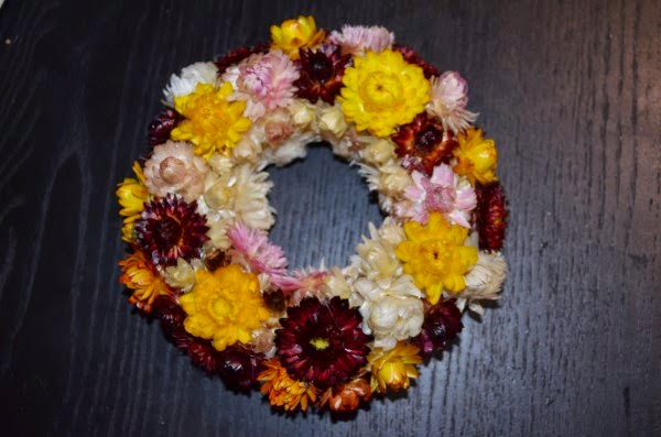finishing dry flowers wreath