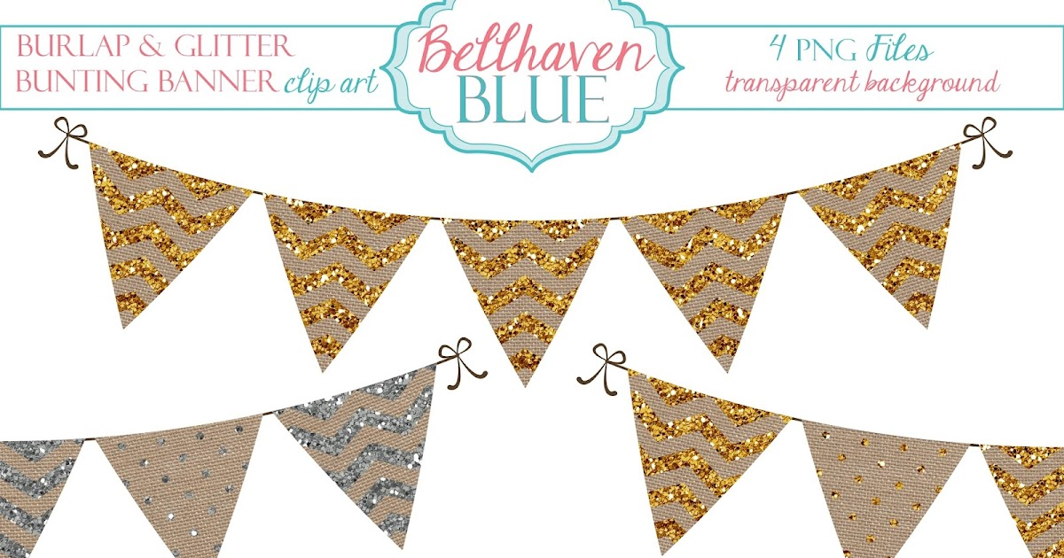 Bellhaven Blue Burlap And Glitter Bunting Banner Clipart Free Download