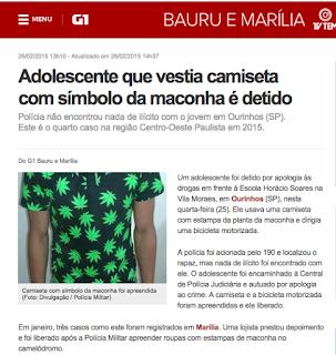Adolescente que vestia camiseta com símbolo da maconha é detido
