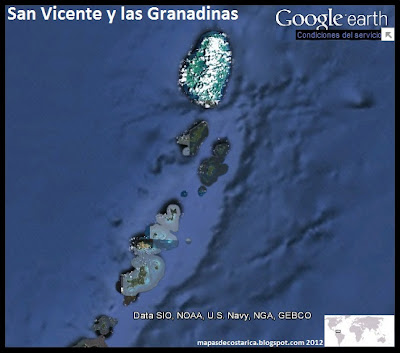 Mapa de San Vicente y las Granadinas , Google Earth