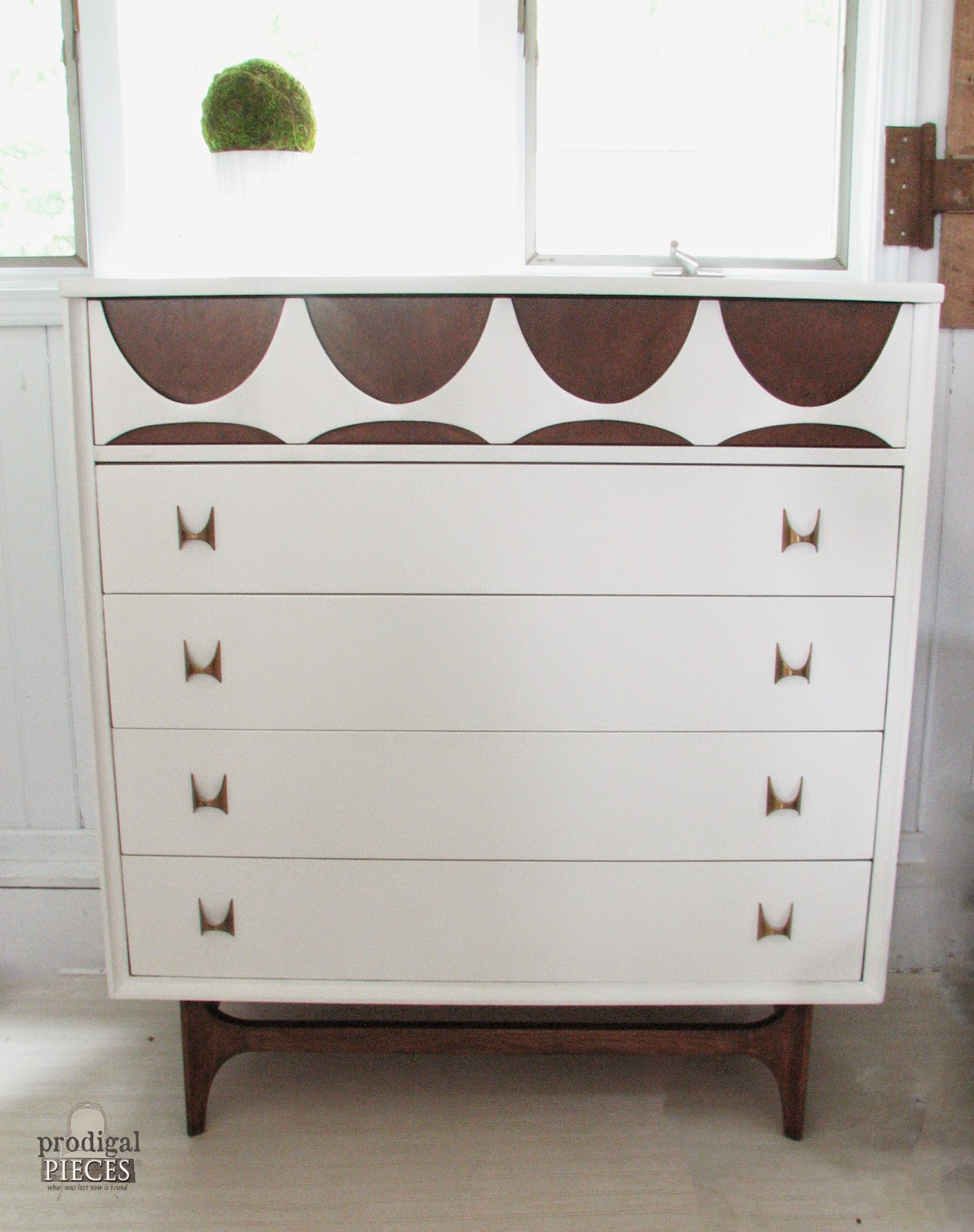 Thrifted Broyhill Brasilia Chest of Drawers Loses Its Flower Power with Makeover by http://www.prodigalpieces.com
