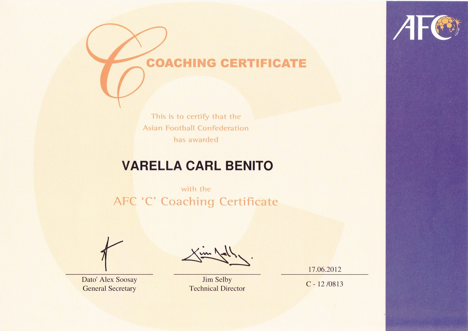 Coachcarl aquatics recreational lifestyle december 2012 at the age of 44 coach carl has attained his football coaching certificate with afc our heartfelt congratulation to him for his new achievement xflitez Choice Image
