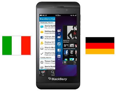 Dos países europeos se suman a la lista de donde el BlackBerry Z10 ha marcado territorio, El día de ayer les informamos sobré el evento de lanzamiento en Sudáfrica por parte de la OperadoraVodafone, Es increíble como esté dispositivo ha ido llegando ya tan pronto a varias partes del mundo pero lo que muchos usuarios han estado esperando es su lanzamiento en Estados Unidos que se realizará en Marzo. Los paises europeos Italia y Alemania siempre han sido grandes consumidores de productos BlackBerry, sin embargo, con las caídas recientes en los dispositivos BlackBerry vendidos el año pasado, se espera que