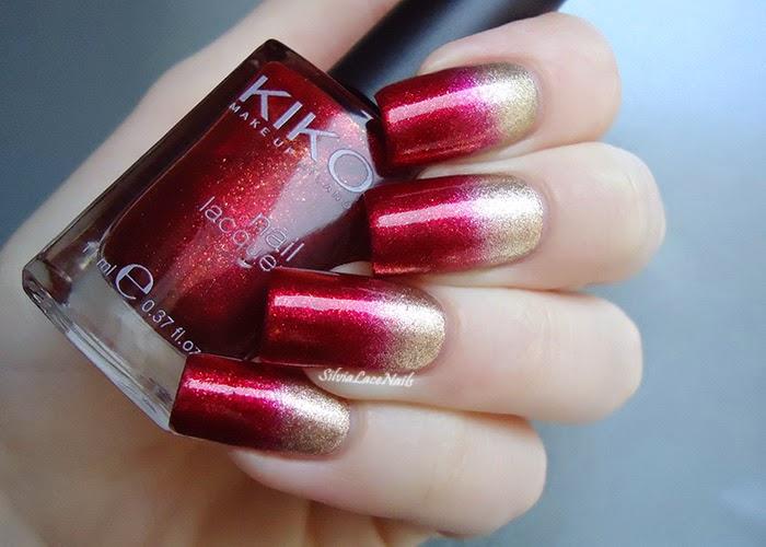 Nail art sfumata rosso e oro