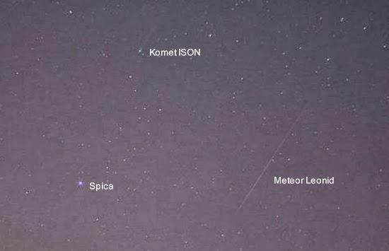Komet ISON dan Hujan Meteor Leonid dalam Satu Foto