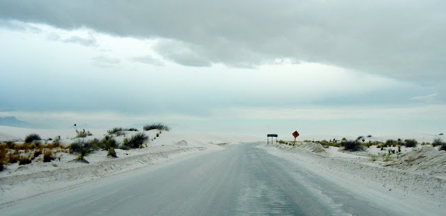 Driving into the White Sands National Monument