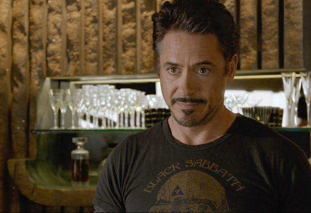 Avengers Tony Stark in a Black Sabbath T-shirt (courtesy Marvel) - darthmaz314