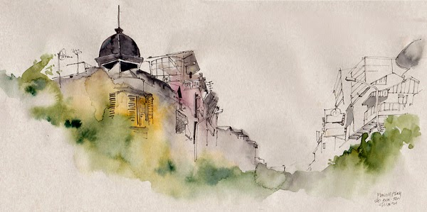 Water colour picture of Phnom Pehn, Cambodia