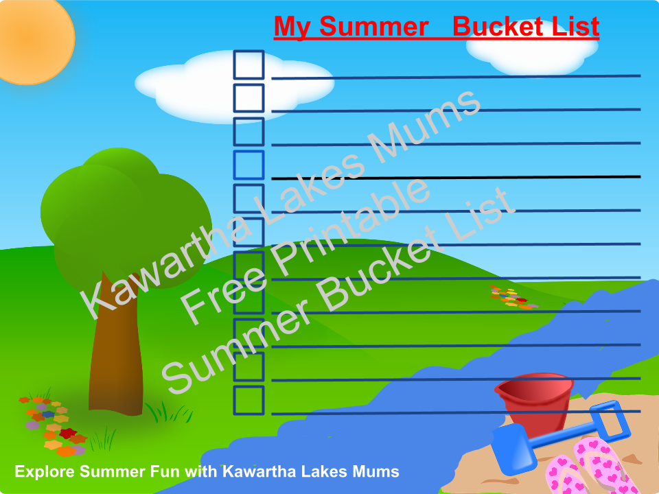 Explore Summer Fun with Kawartha Lakes Mums - My Summer Bucket List Tree river,sand pail, shovel, flip flops sun
