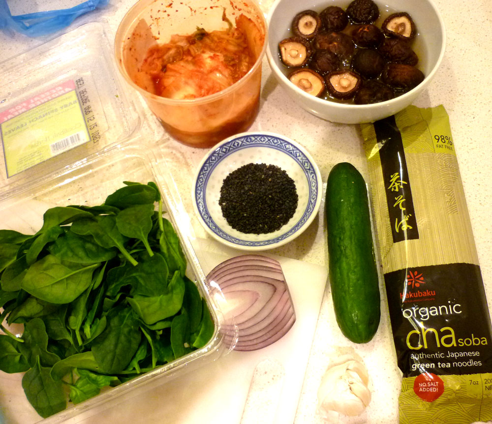 Green Kitchen Kimchi: Green Tea Soba With Shitake And Kimchi