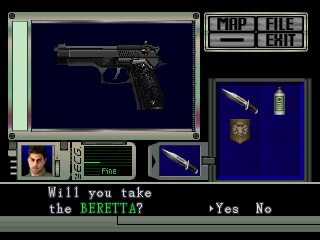 Resident Evil Director's Cut PlayStation inventory screen Chris Beretta