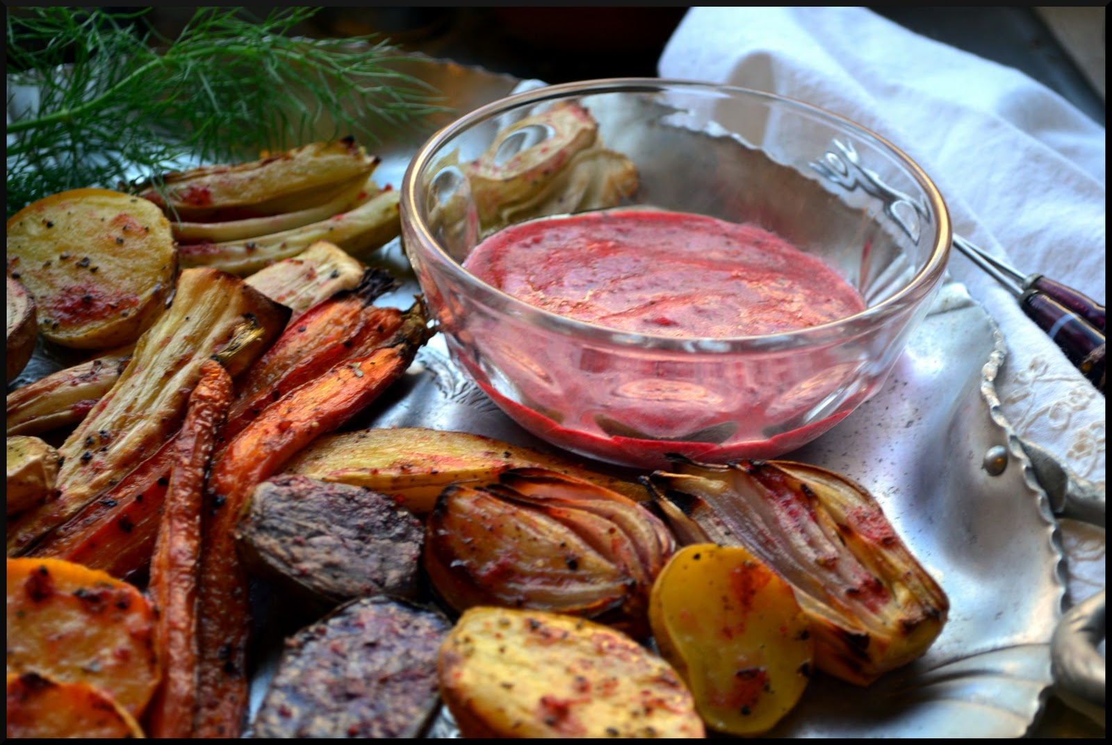 ... on the side? Roasted Root Vegetables with Red Current and Herb Dip